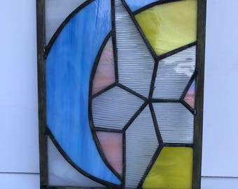 Vintage Stain  glass window, Hand made glass, leaded glass , blue green grey, stain glass hanging,