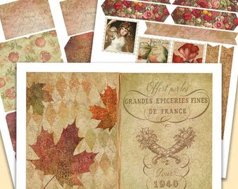 Printable Journal Kit - Faded Foliage - 5x7 Digital Paper Pack - Fall Art Journal Kit - Collage - Journaling - Scraps - Junk Journal Kit PDF