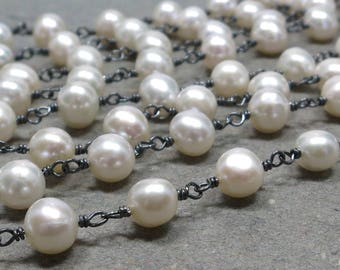 White Pearl Necklace Long Wire Wrapped Oxidized Sterling Silver Pearl Chain