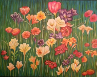 """Abstract painting """"Field Flowers"""""""