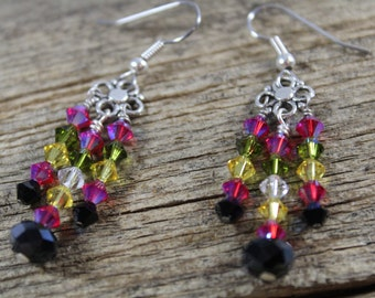 50% OFF CLEARANCE / Colorful Swarovski Crystal Chandelier Earrings / Sparkly Earrings / Gifts for Her / Gifts for Women / Crystal Earrings
