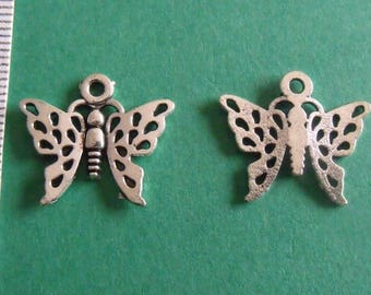 set of 5 Silver Butterfly charms 17mmx18mm