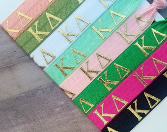 KAPPA DELTA Letters Hair Tie Package | 8 Hair Ties | Officially Licensed Product