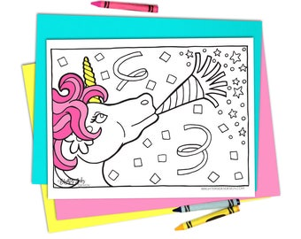 Unicorn Party Coloring Pages - Unicorn Coloring - Printable - adult coloring pages - kids coloring pages - Unicorn Birthday Colouring
