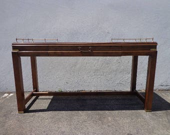 Vintage Campaign Desk Console Sofa Table Gold Brass Mid Century Modern Mcm Asian Chinoiserie Console Bohemian Boho Chic CUSTOM PAINT AVAIL