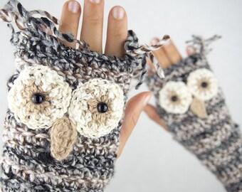 Owl Fingerless Gloves ~ Handmade
