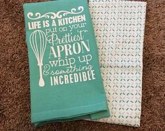 Cute Kitchen Flour Sack Towel Set - Turquoise & White - Tea Towel Set - Hostess Gift - Tea Towel Set - Gifts for her - Housewarming Gift