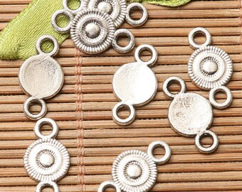 Circle Connector Charms Antiqued Silver Circle Pendants Links Connector Pendants 2 Hole Charms 10 pieces