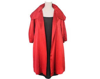 1950s Red Swing Coat, Vintage Red Swing Jacket, 1950s Vintage Red Satin Evening Coat, Opera Coat, By Label The Hedley James Signature