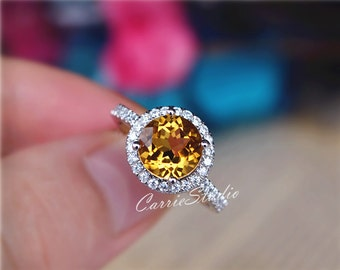 Genuine Natural Citrine Ring Citrine Engagement Ring/ Wedding Ring 925 Sterling Silver Ring Anniversary Ring Promise Ring
