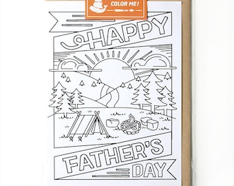 Fathers Day Card, Coloring Card, Card for Him, Card for Husband,  Modern Card for Him, Fathers Day Greeting Cards