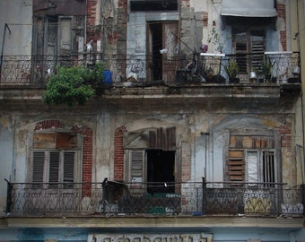 Fine Art Photo Instant Digital Download - La Maravilla - Old Havana Hotel, Deteriorated Apartment Building, Wood Shutters, Arches, Iron Rail