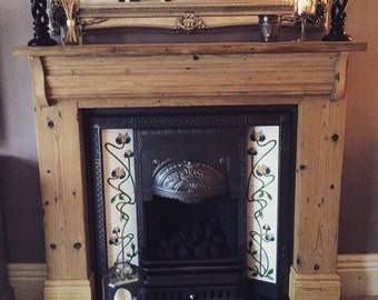 Bespoke hand made reclaimed wood fireplace surround. Fire surround, mantle, hearth, log burner, antique pine surround Shabby chic victorian