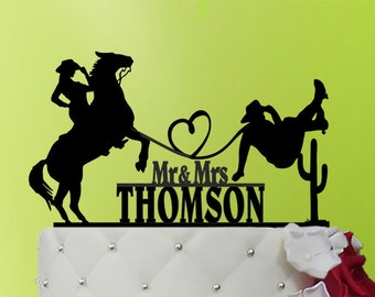 Cowboy Wedding - cowboy cake topper - Rustic wedding cake topper - Cowboys Cake Topper - last name  - western cake topper М1-01-008