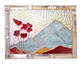 Poppies Stained Glass Panel Suncatcher Red CUSTOM Stained Glass Poppy Window Panel MADE to ORDER