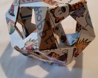 Calvin and Hobbes Comic Strip Origami Dodecahedron Ornament
