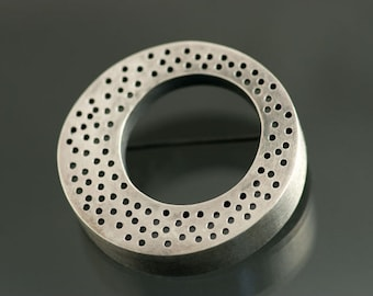 Big O dotted Sterling Silver Brooch, Ready to Ship, One of a Kind