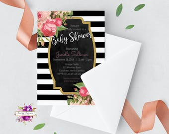 Black and White Stripe - Pink Black and White - Pink Floral Baby Shower Invitation - Printable Invitation - Digital Invitation - BEST SELLER