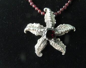 Starfish Pendant with Red Garnet