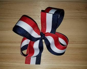 DERNIER, rouge/blanc/Navy Stripe, Memorial Day, le 4 juillet, arc de cheveux boutique