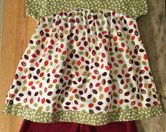 Falling Leaves and Green Polka-dot top and shorts. Size 4T