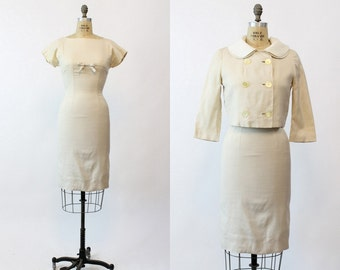 50s Dress and Jacket XS / 1950s Vintage Linen Wiggle Dress Outfit / Cream and Coffee Dress