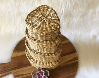 Set of Four Nesting Heart Baskets With Lids