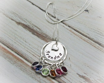 Grandma Necklace, Grandmother Necklace, Birthstone Necklace, Grandchildren Necklace, Hand Stamped Personalized, Mother's Day Gift, Silver
