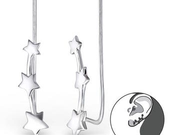 Star climber 925 Sterling silver minimalist earrings