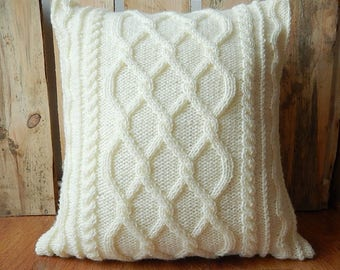 Milk white cable cushion cover