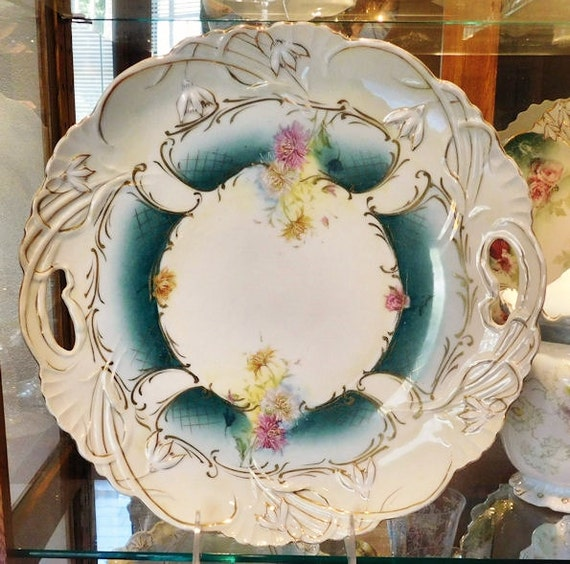 """LARGE RS Prussia Porcelain Charger / 12"""" Centerpiece"""