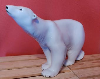 Vintage Royal Dux, Mid century polar bear Royal Dux Porcelain Figurine Polar, Grizzly Bear, Polar Bear Rare VTG