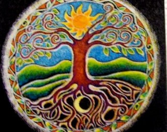 "Tree of Life Mandala  Round Art Sticker   Summer Sun Energy. 3"" from  original mandala drawing--"