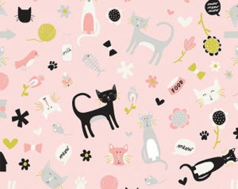 Meow Main Pink Cat fabric 100% Cotton Riley Blake Fabric in 4ths Half 3/4 and a Yard for Sewing/ Quilting/ Crafting/  Applique Sewing