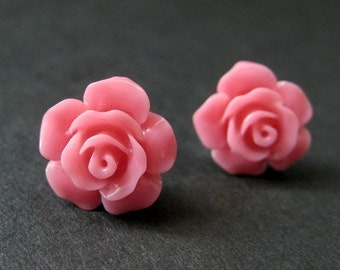 Coral Pink Flower Earrings. Coral Pink Earrings. Gardenia Flower Earrings. Silver Stud Earrings. Coral Pink Rose Earrings. Handmade Jewelry.