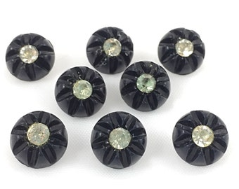 Set of 8 Vintage Rhinestone Buttons, item 683