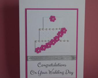 Wedding Cake Handmade Wedding Card, wedding cake card, pink wedding cake card, wedding day congratulations, Mr & Mrs card, bride and groom