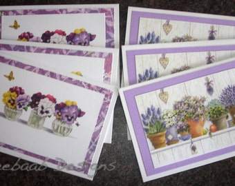 Handmade Note Cards, set of 6, featuring plants in pots and flowers in vases