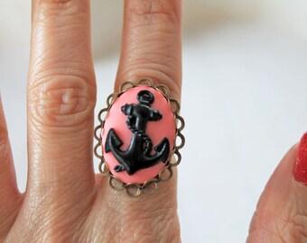 Anchor ring cameo pink black Fantasy Kawaii rockabilly nautical
