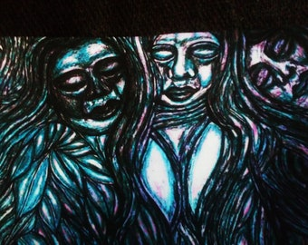 Green Goddesses In The Forest Blue Purple And Teal Version Colored Pencil Pen And Ink Print 8X10