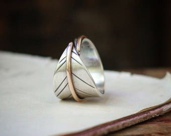 Free Spirit or your custom stamped words/message ~ sterling silver and bronze mixed metal leaf band ring, sizes 9-11, Made to order