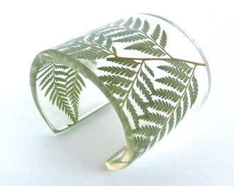 Fern Resin Cuff.  Contemporary Eco Resin Bracelet.  Wide Cuff with Personalized Engraving. Handmade Resin Jewelry.  Green Fern Resin Cuff