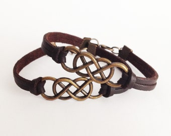 2 Double infinity bracelets Brown leather bracelet Antique bronze bracelet Friendship bracelet Best Gift