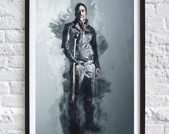 The Walking Dead - Negan  'Watercolor' A4 Print