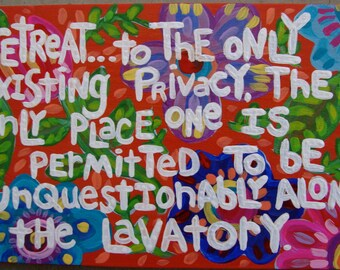 Original Folk Art Quote & Floral Painting on Wood Plaque