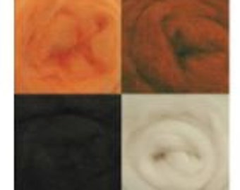"100% Wool Corriedale Roving Multi Pack  (8) 12"" by Wistyria Editions Harvest Collection"