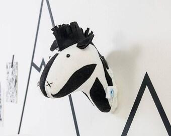 Nursery decor, zebra animal head, zebra head, nursery art, nursery wall decor, zebra, felt zebra, animal head, zebra head, wall mount