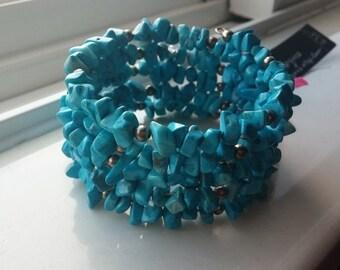 Turquoise Howlite Bead Chip Wrap Bracelet