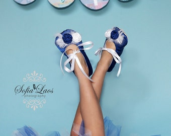 Royal Blue Satin Baby Shoes Ballerina Slippers