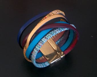 the shore, multi-links, magnetic clasp Leather Bracelet